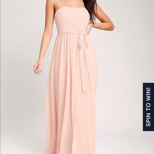 Be in Love Blush Pink Strapless Maxi Dress (Lulus)